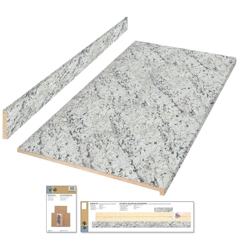 8 ft. Laminate Countertop Kit in White Ice Granite with Ora Edge
