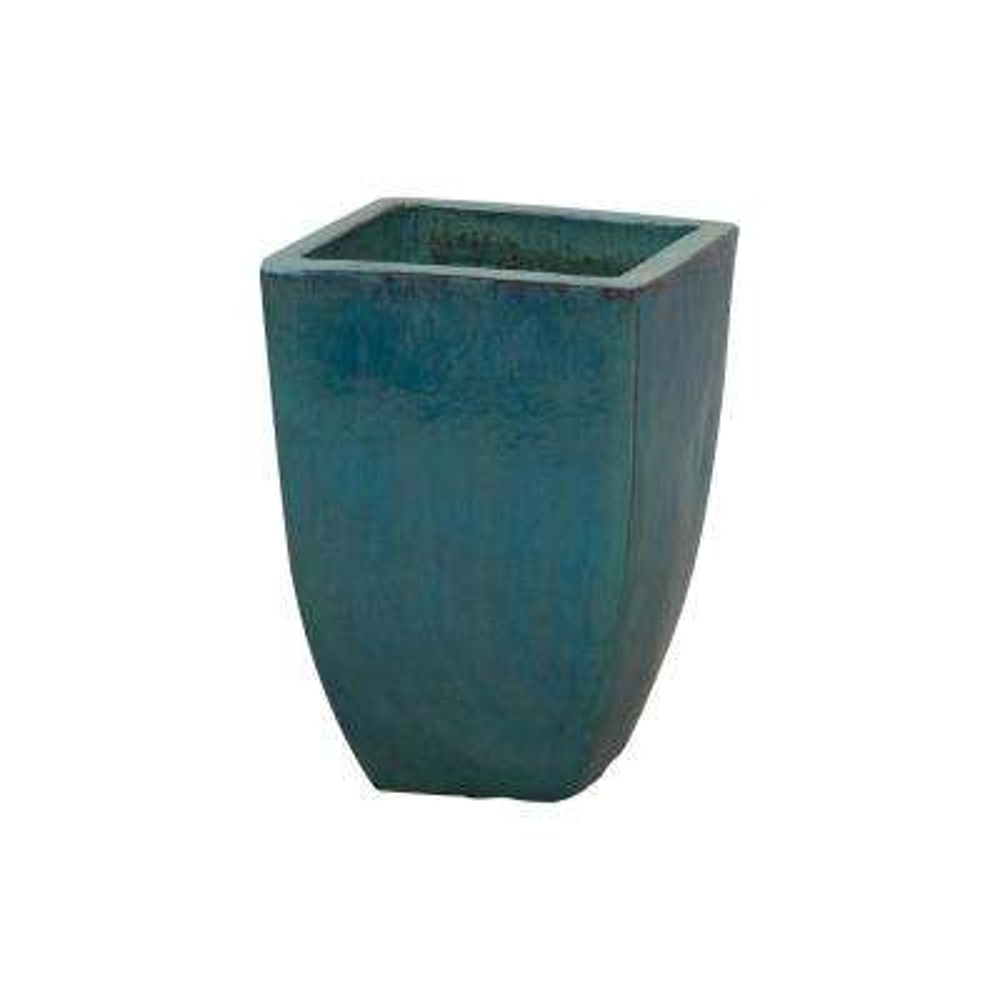 13 in. Square Teal Ceramic Planter