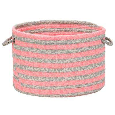 16 in. x 16 in. x 12 in. Fresh Coral Soft Corded Round Fabric Basket