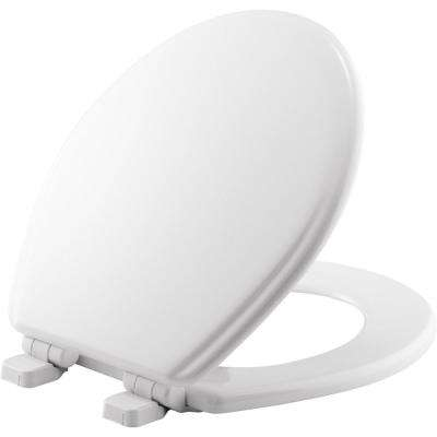 Adjustable Slow Close Never Loosens Round Closed Front Toilet Seat in White