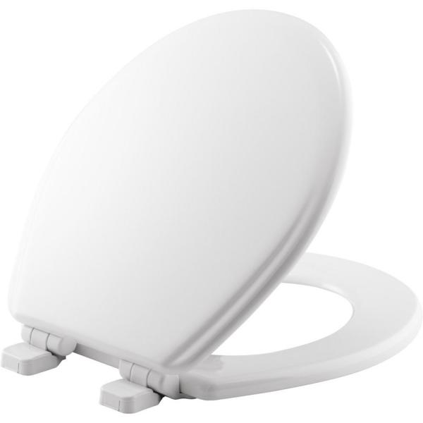 Jamestown Adjustable Slow Close Never Loosens Round Closed Front Toilet Seat in White