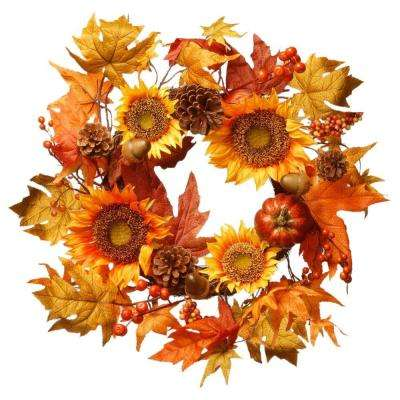 Harvest Accessories 22 in. Sunflower Artificial Wreath with Pumpkin