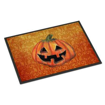 18 in. x 27 in. Indoor/Outdoor October Pumpkin Halloween Door Mat