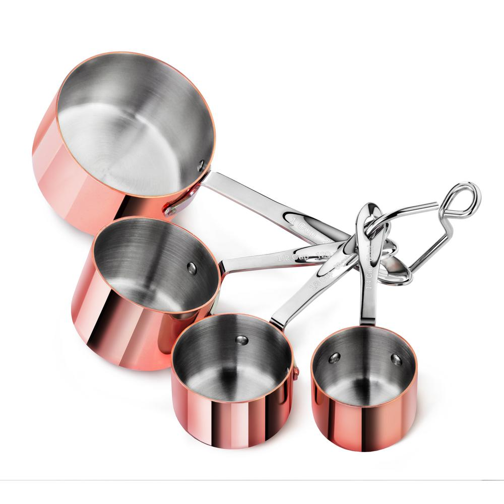 4-Piece Brass Plated Stainless Steel Measuring Cup Set
