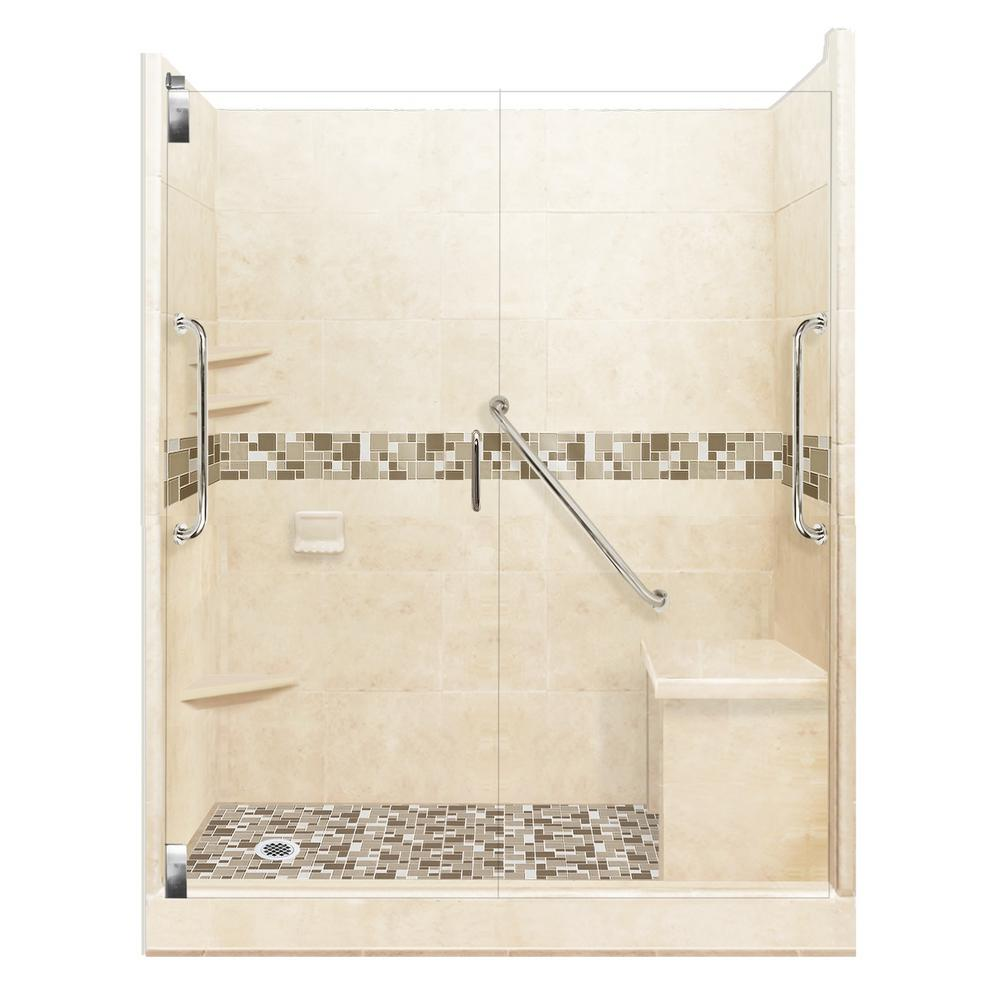 American Bath Factory Tuscany Freedom Grand Hinged 42 in. x 60 in. x 80 in. Left Drain Alcove Shower Kit in Desert Sand and Chrome Hardware