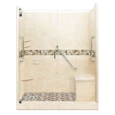 Tuscany Freedom Grand Hinged 42 in. x 60 in. x 80 in. Left Drain Alcove Shower Kit in Desert Sand and Satin Nickel