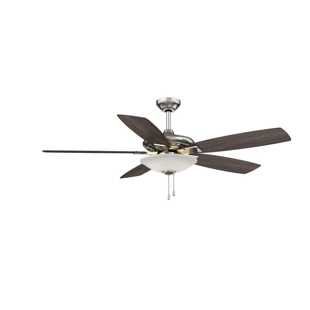 Hampton Bay Menage 52 In Integrated Led Indoor Low Profile Brushed Nickel Ceiling Fan With