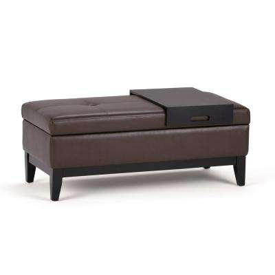 Oregon Chocolate Brown Storage Ottoman Bench with Tray