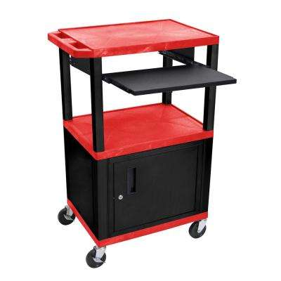WTPS 42 in. A/V Cart with Black Cabinet and Pullout Shelf in Red Shelves