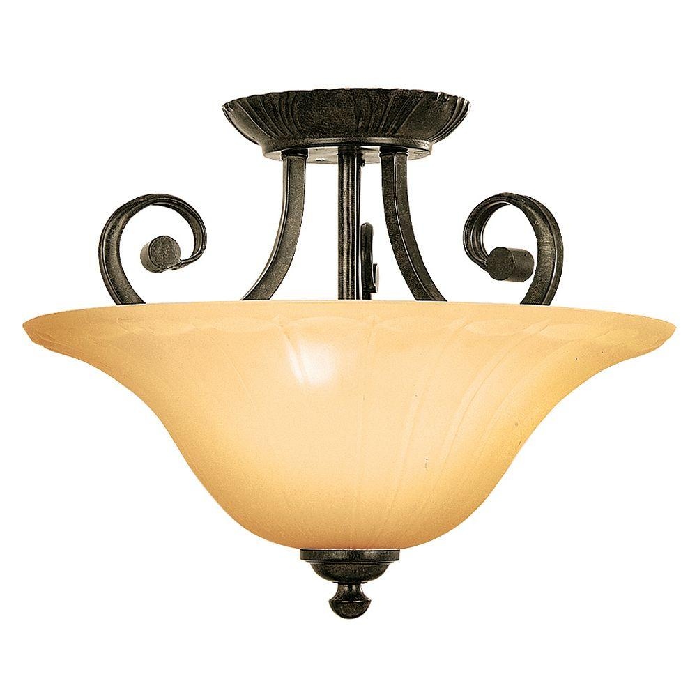 Yosemite Home Decor Florence Collection 3-Light Venetian Bronze Semi-Flush Mount Light with Marble Sunset Glass Shade