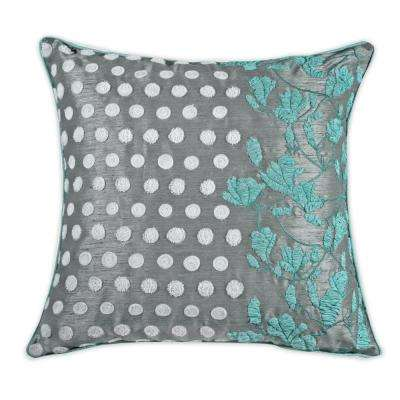 A1HC Exotic Profusion Embroidered Floral 20 in. Cotton Throw Pillow