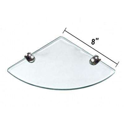 8 in. D x 8 in. W x 0.24 in. H Clear Glass Floating Corner Decorative Wall Shelf with Chrome Nylon Brackets