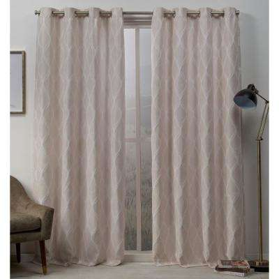 Sonos 54 in. W x 84 in. L Woven Blackout Grommet Top Curtain Panel in Blush (2 Panels)