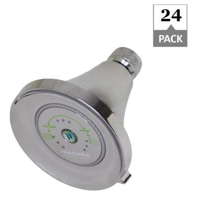 Earth Luxe 3-Spray 3.35 in. Fixed Mount Round 1.5 GPM Showerhead in Chrome (24-Pack)