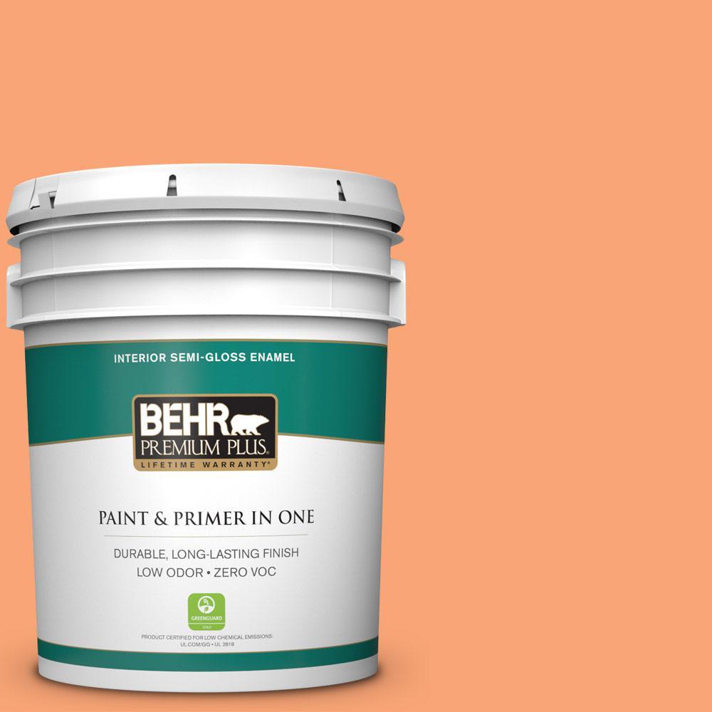 BEHR Premium Plus 5-gal. #240B-4 Marmalade Zero VOC Semi-Gloss Enamel Interior Paint