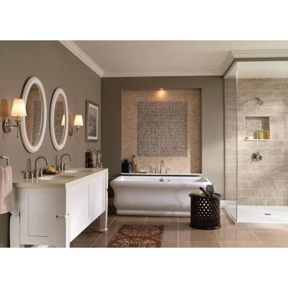Banbury 8 in. Widespread 2-Handle High-Arc Bathroom Faucet in Spot Resist Brushed Nickel (2-Pack Combo)