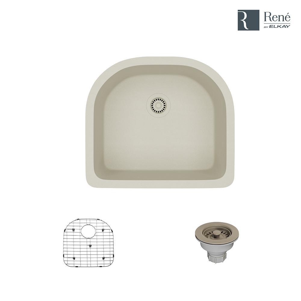 Undermount Composite Granite 24-3/4 in. Single Bowl Kitchen Sink in Concrete