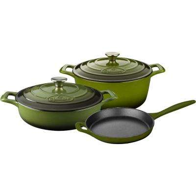 PRO 5-Piece Enameled Cast Iron Cookware Set with Saute, Skillet and Round Casserole in Green