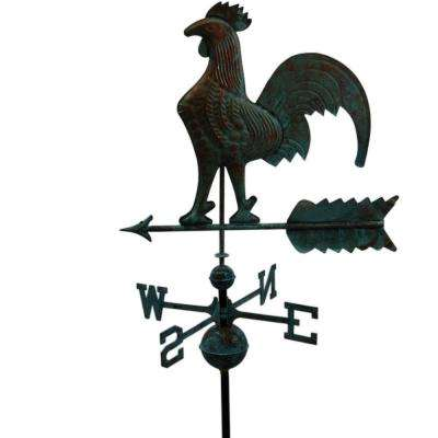 22 In. W Rooster Copper Weathervane - Patina