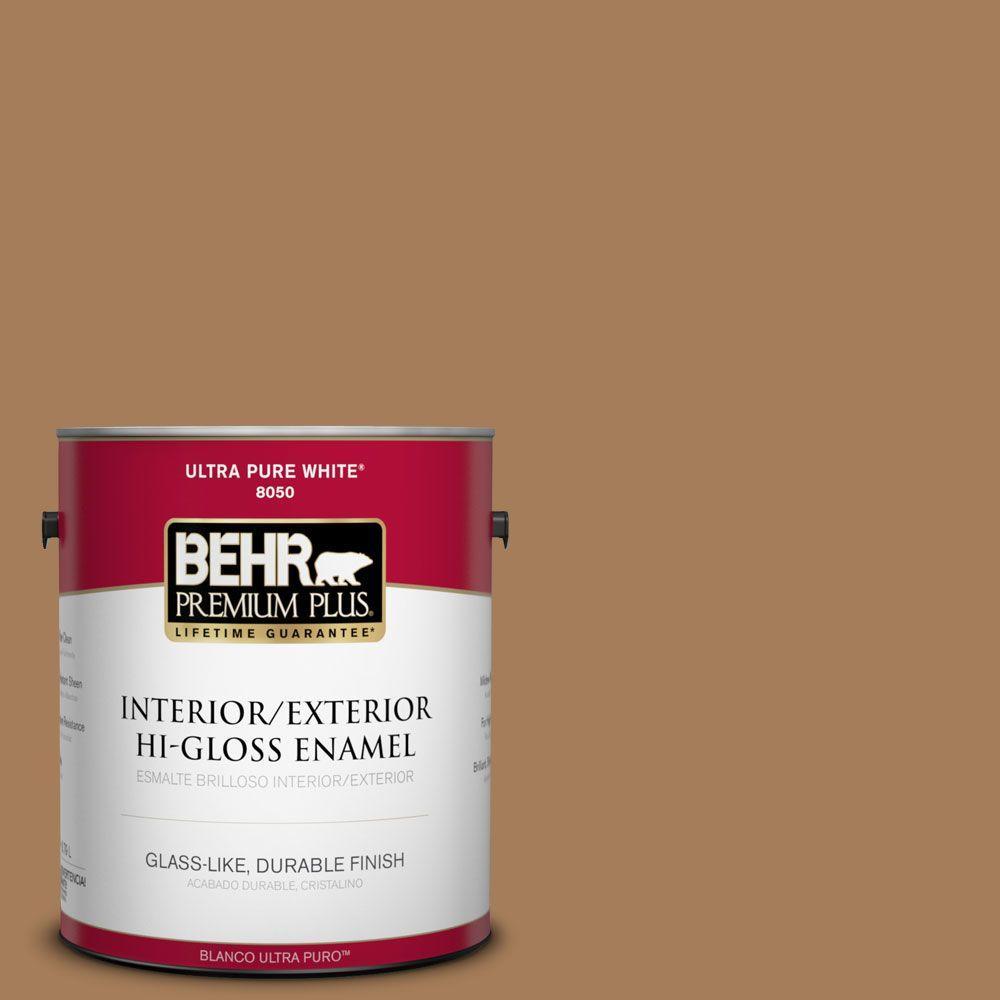 BEHR Premium Plus 1-gal. #270F-6 Fudge Truffle Hi-Gloss Enamel Interior/Exterior Paint