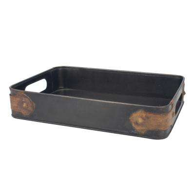 10 in. x 2.5 in. Slate Steel Tray with Rust Trim