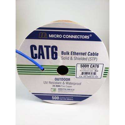 500 ft. Blue Solid Shielded (STP) CAT6 Outdoor UV Resistant Bulk Ethernet Cable