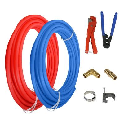 3/4 in. x 100 ft. Pex Tubing Plumbing Kit - Crimper and Cutter Tools Tubing Elbow Cinch Half Clamp - 1 Red 1 Blue