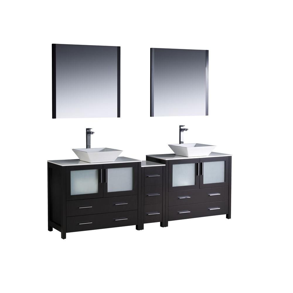 Fresca Torino 84 in. Double Vanity in Espresso with Glass Stone Vanity Top in White with White Basins and Mirrors