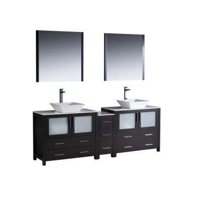 Torino 84 in. Double Vanity in Espresso with Glass Stone Vanity Top in White with White Basins and Mirrors