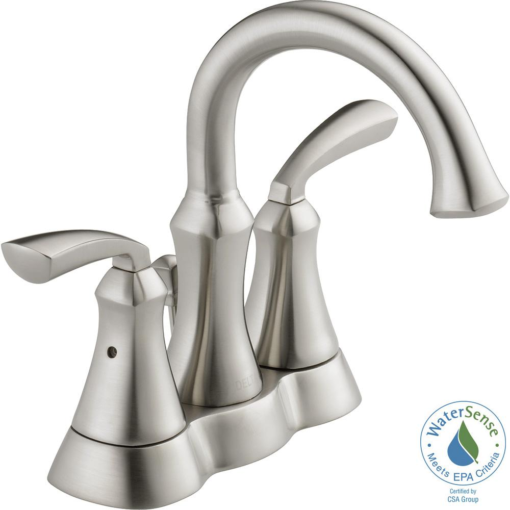 Delta Mandara 4 In Centerset 2 Handle Bathroom Faucet In Brushed