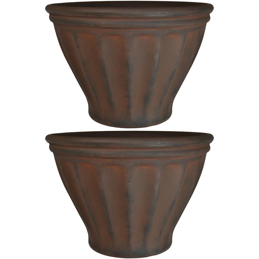 16 in. Rust Charlotte Resin Outdoor Flower Pot Planter (2-Pack)