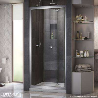 Butterfly 32 in. x 74-3/4 in. Semi-Frameless Bi-Fold Shower Door in Chrome with Center Drain Shower Base in Biscuit