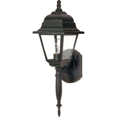 1-Light Outdoor Textured Black Wall Lantern with Clear Seed Glass