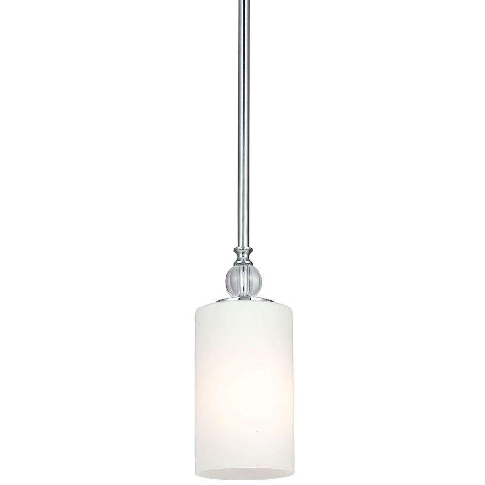 Sea Gull Lighting Englehorn 1 Light Chrome Mini Pendant With Inside White  Painted Etched Glass