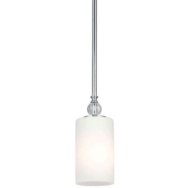 Englehorn 1-Light Chrome Mini Pendant with Inside White Painted Etched Glass