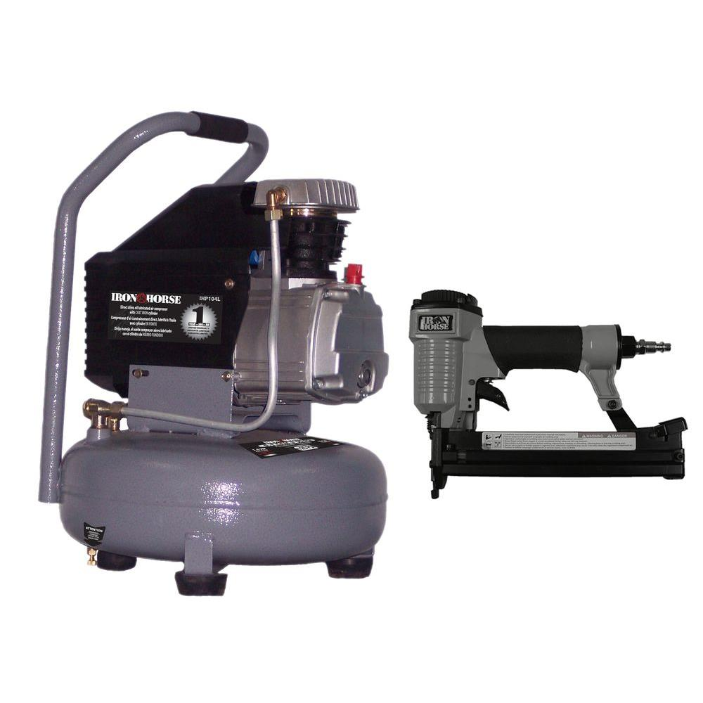 Iron Horse 4-Gal. Pancake Compressor Combo Kit with 18-Gauge 2-in-1 Brad Nailer and Stapler