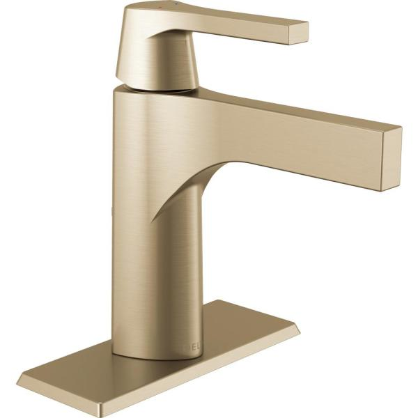 Zura Single Hole Single-Handle Bathroom Faucet with Metal Drain Assembly in Champagne Bronze