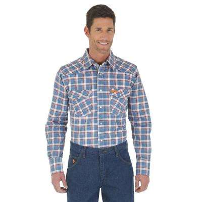 Men's Size Extra Large Blue/Red Plaid Western Shirt