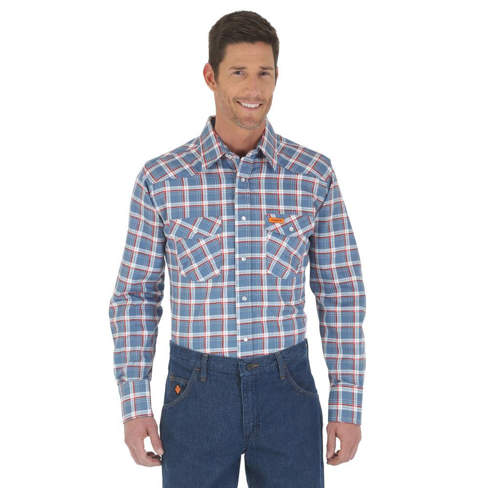 Men's Size 2X-Large Blue/Red Plaid Western Shirt
