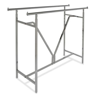 Heavy-Duty Chrome Metal Double Adjustable Clothes Rack (22 in. W x 70 in. H)