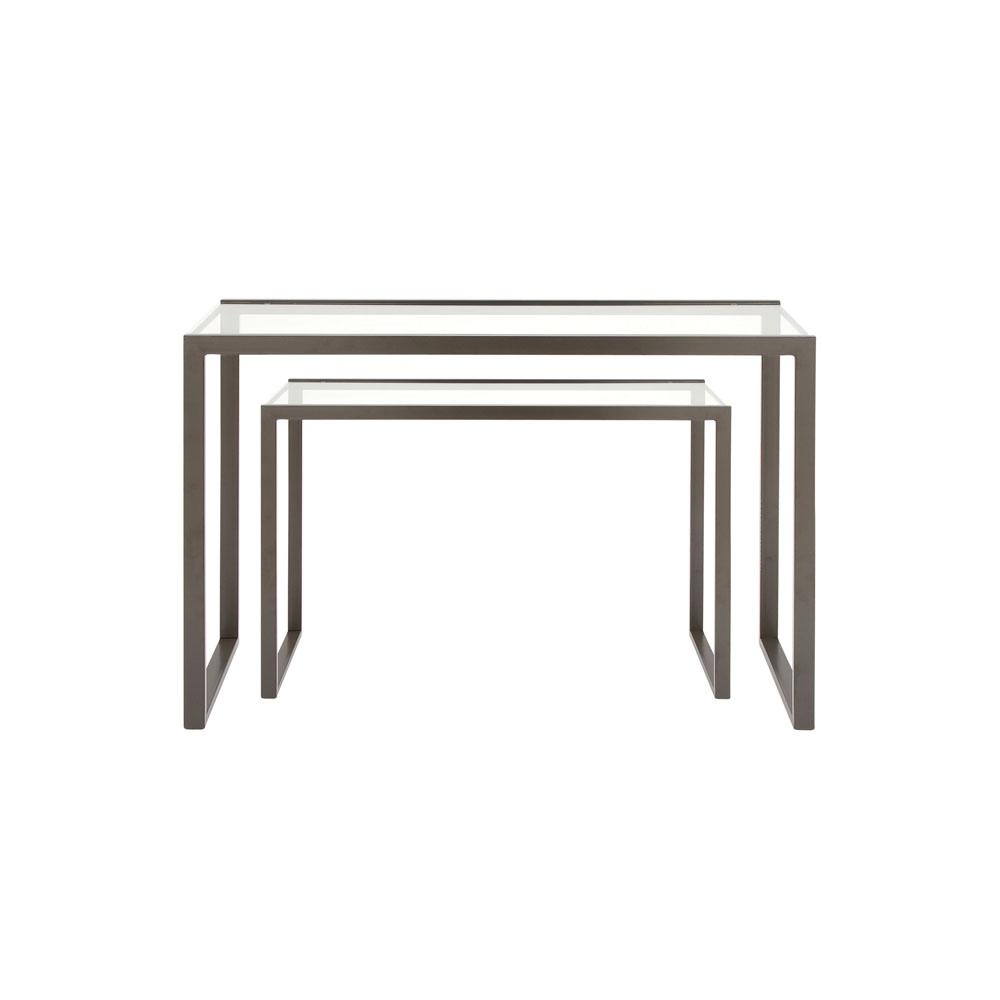 Metallic Black Rectangular Console Tables With Glass Top Set Of 2