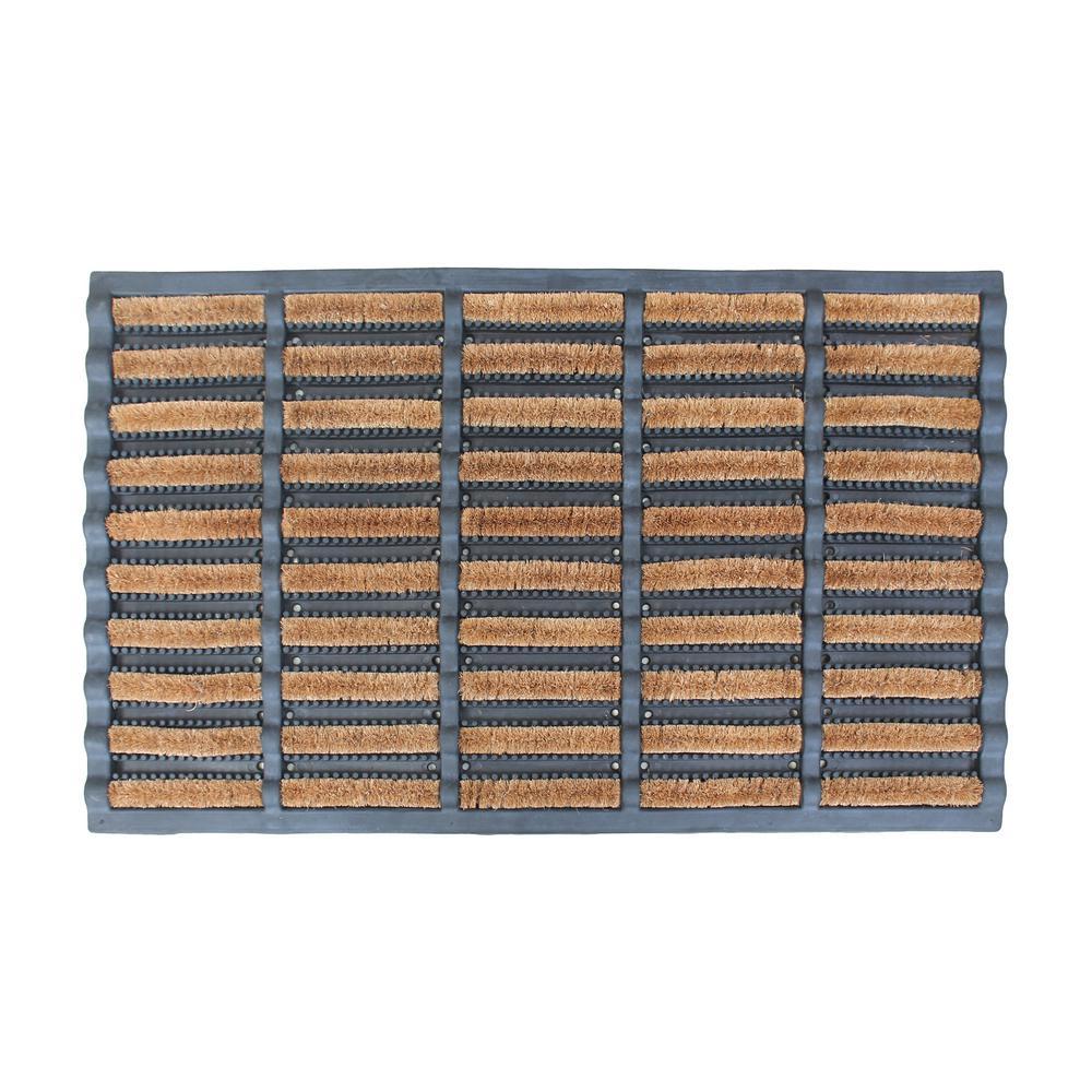 Rubber Brush Functional Boot Scrapper Decorative Large Coir Entryway 23.6 in. x 37.4 in. Door Mat in Beige/Black