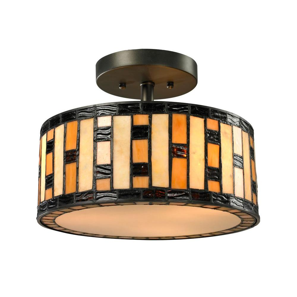 Filament Design Cafe 3-Light Java Bronze Semi-Flush Mount Light