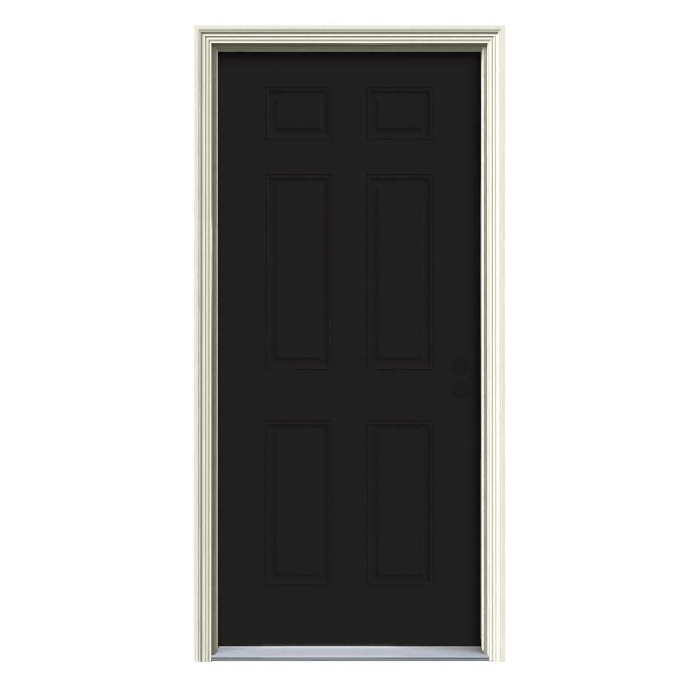 36 in. x 80 in. 6-Panel Black Painted Steel Prehung Left-Hand