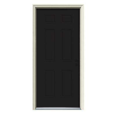 30 in. x 80 in. 6-Panel Black Painted w/White Interior Steel Prehung Left-Hand Inswing Front Door w/Brickmould