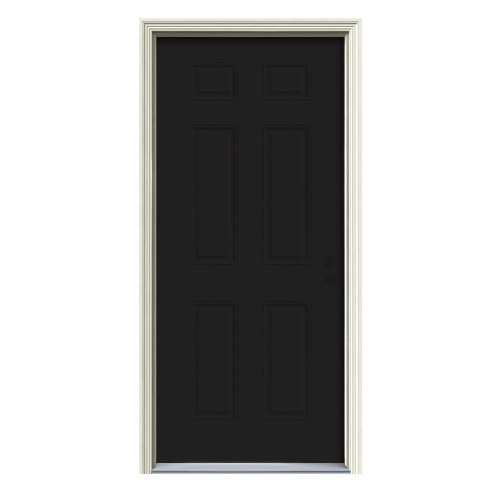 JELD-WEN 34 in. x 80 in. 6-Panel Black Painted w/White Interior Steel Prehung Left-Hand Inswing Front Door w/Brickmould