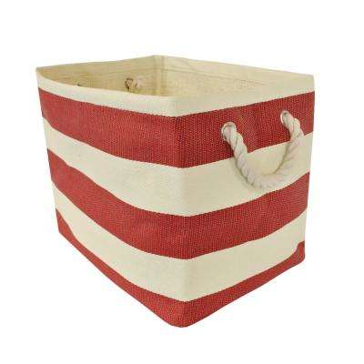 Rectangle Woven Paper Stripe Decorative Bin