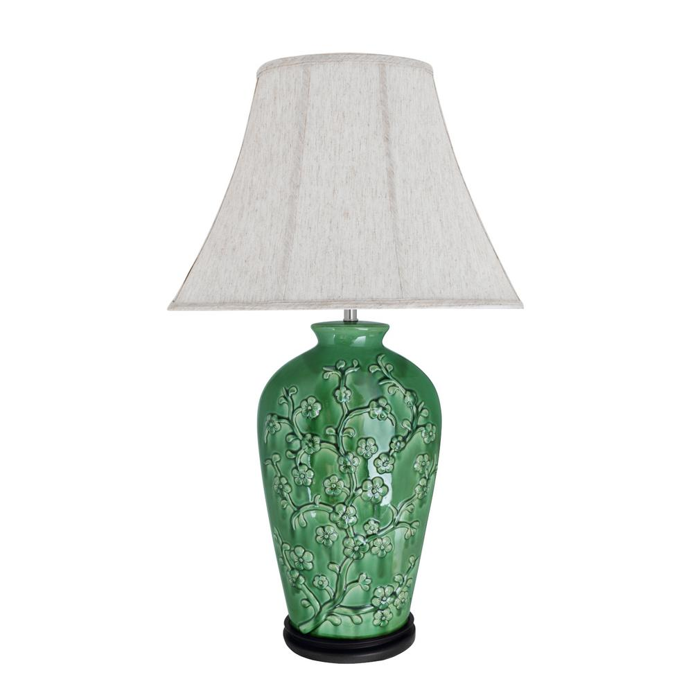 Aspen Creative Corporation 33 1 2 In Green Ceramic Table Lamp With Oval