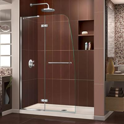 Aqua Ultra 48 in. x 74.75 in. Semi-Frameless Hinged Shower Door in Chrome with Center Drain Shower Base in Biscuit