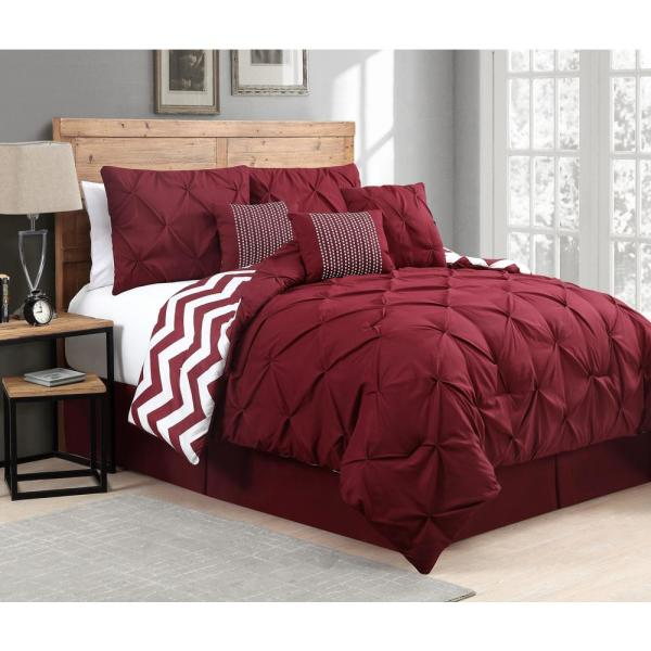 Avondale Manor Venice Pinch Pleat 7-Piece Red Queen Comforter Set VNC7CSQUENGHRD